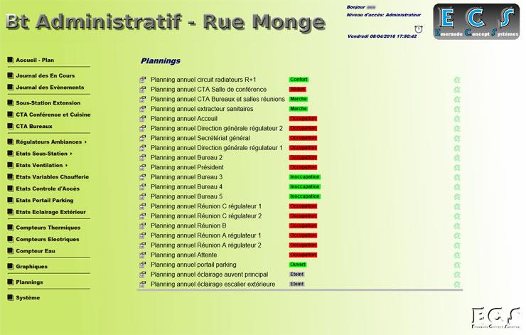 Accès aux plannings des éléments pilotables sous forme de liste cliquable avec voyant d'état