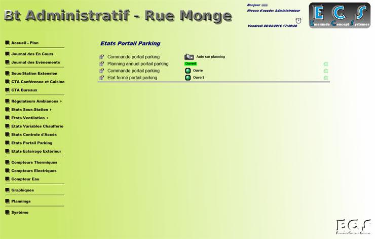 Suivi de l'état du portail automatique et accès au planning
