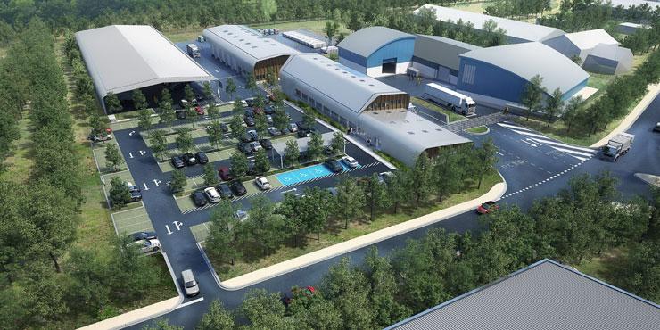Représentation d'architecte des bâtiments du siège de la direction de la collecte et du traitement des déchets (DCTD) vus du ciel
