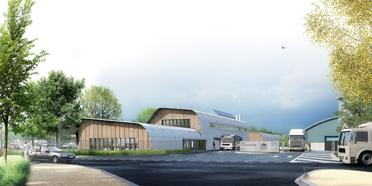 Représentation d'architecte de l'entrée et des bâtiments du siège de la direction de la collecte et du traitement des déchets (DCTD)